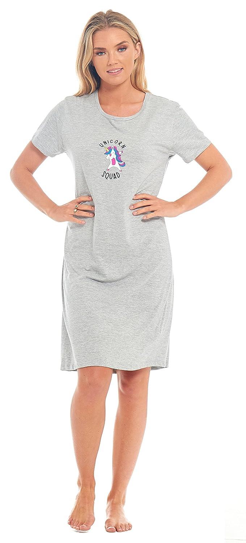 Pug Dog Unicorn Ladies 100% Jersey Cotton Soft Plain Womens Nightie Nightdress Low Cut Neck Knee Length Navy Blue Purple Size UK 8 10 12 14 16 18 20 22