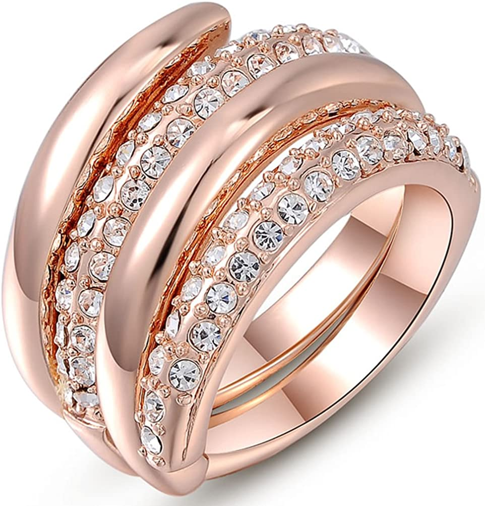 Amazon Com Temego 14k Rose Gold Pave Cz Double Band Spiral Engagement Ring 2 In 1 Rings Set Size 6 7 8 Jewelry