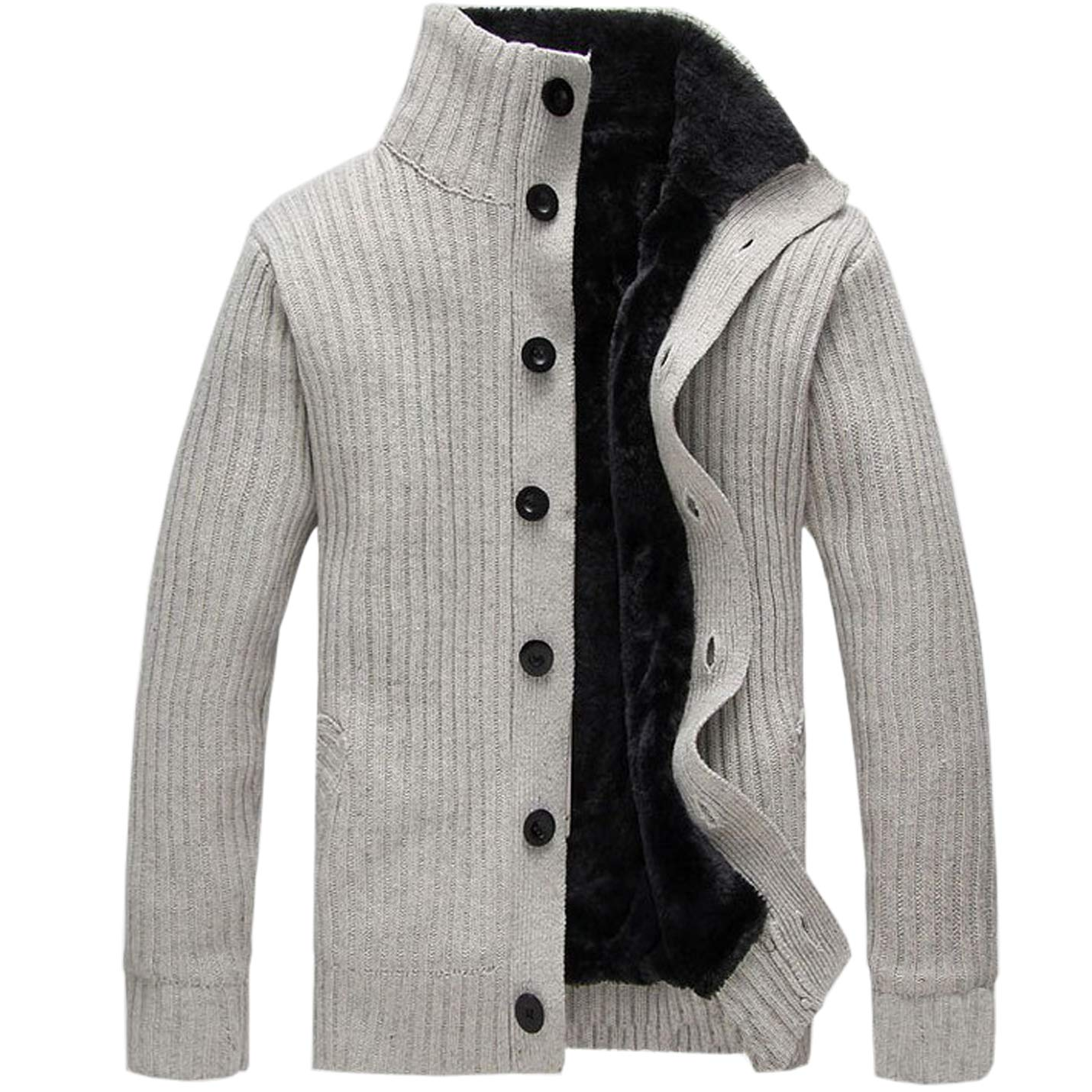 Flygo Men's Casual Faux Fur Lined Single-Breasted Thicken Knitted Cardigan Sweater