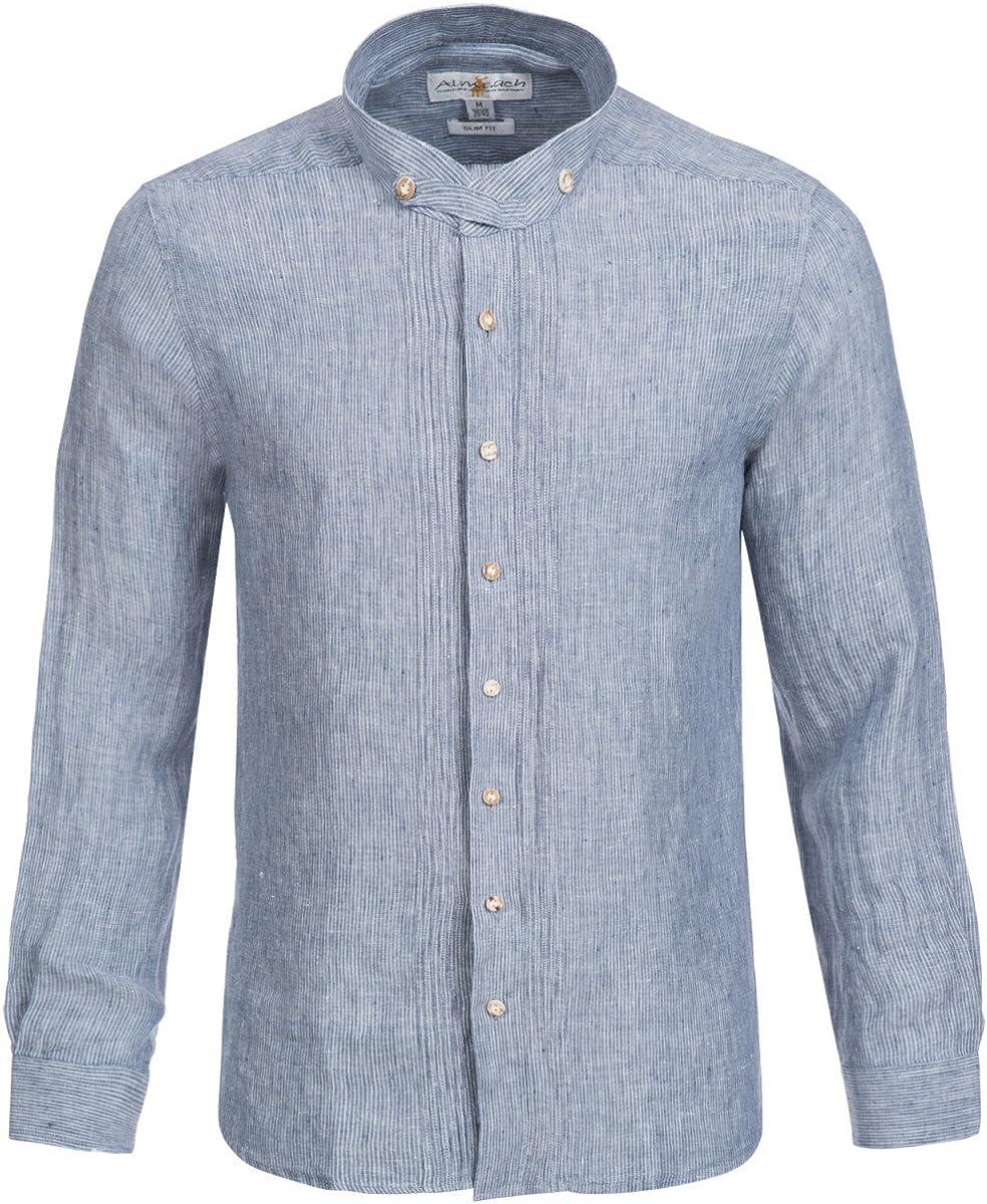 Traje Camisa Slim Fit en azul oscuro de alm sach | Lino ...