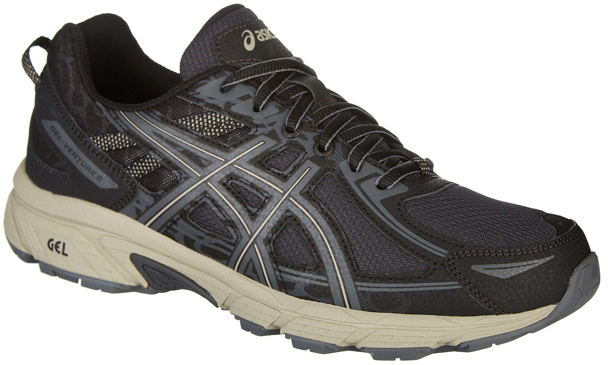ASICS Men's Gel-Venture 6 Running Shoes Black/Dark Grey/Feather Grey 12 D(M) US