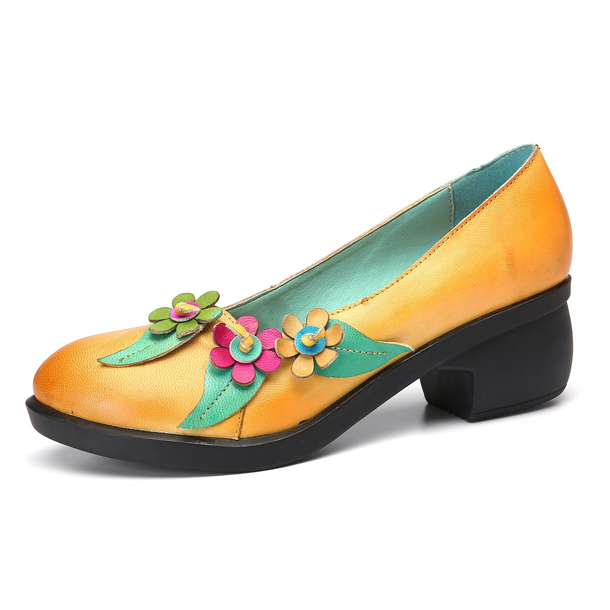 Yellow gracosy Women Pump shoes, Leather Heel shoes Round Toe Mid Heel shoes Outdoor Walking Casual Dress shoes