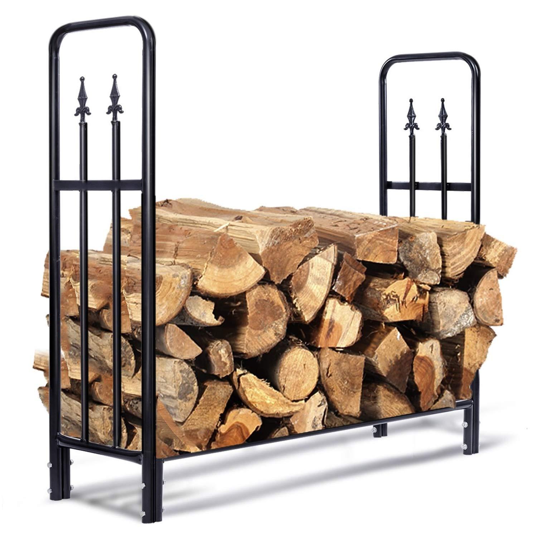 C/Y Steel Firewood Rack Heavy Duty Storage Log Holder Open Design Weatherproof 4'