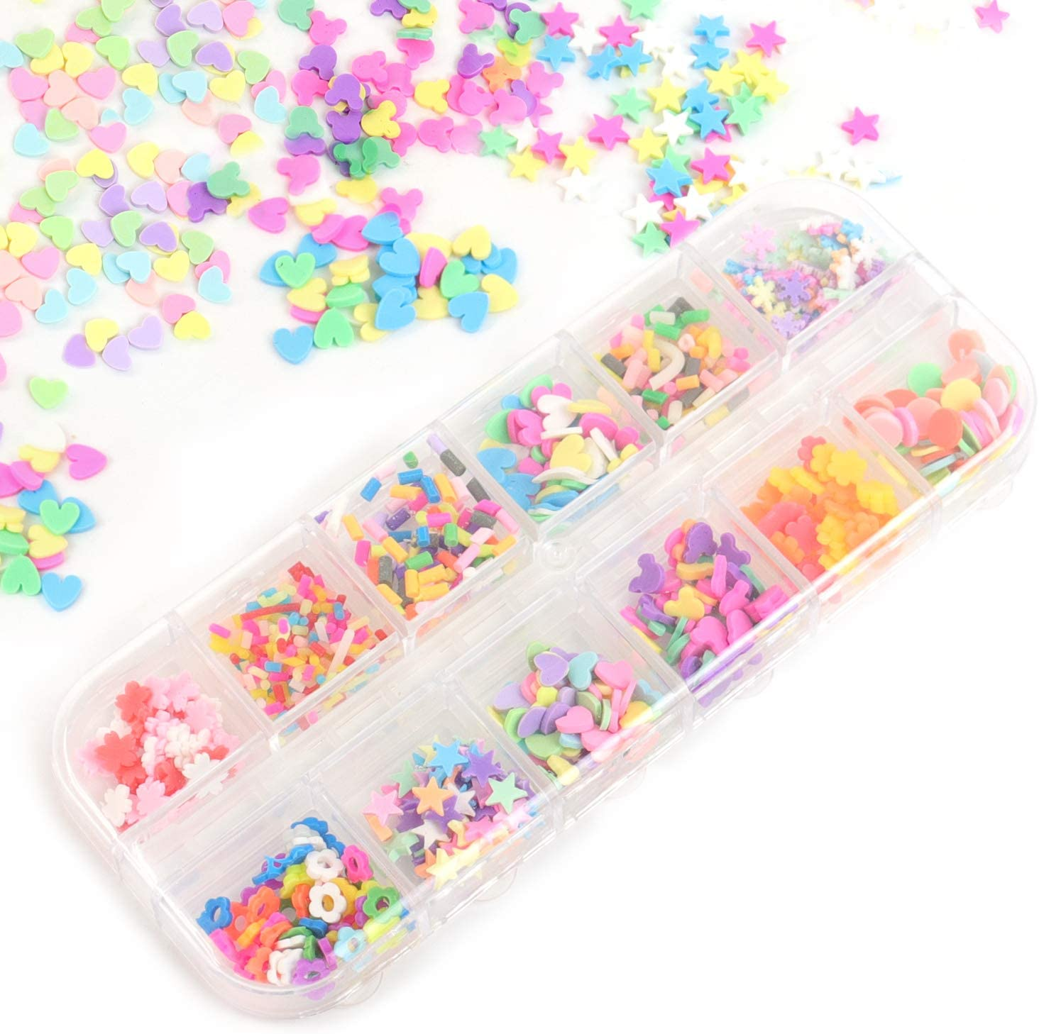 Framendino, 12 Colors Fake Clay Sprinkles Decoration Colorful Snow Star Heart Shaped Flower Disc for Fake Candy Sweets Sugar Cake Dessert Simulation Food Phone Case