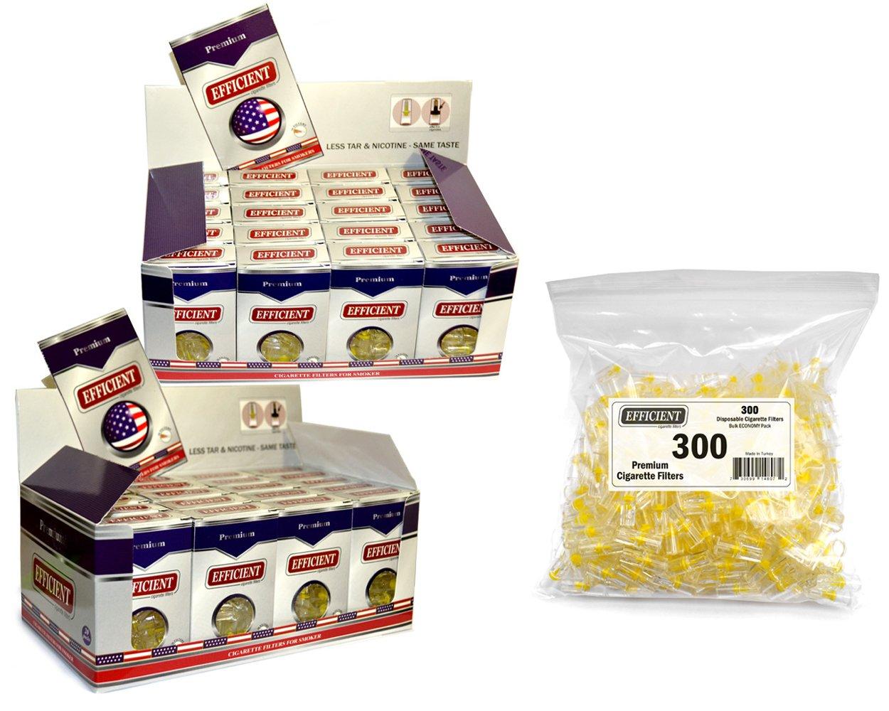 EFFICIENT Cigarette Filters, Filter Tips for Cigarette Smokers 40 Packs (1200 Filters) + 300 Bulk Filters
