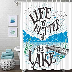 Guftay Cabin Shower Curtain, Life is Better at The Lake Wooden Pier Plants Mountains Sketch Art Curtain, Waterproof Fabric for Bathroom Decor Shower Curtains Set with Hooks, 72