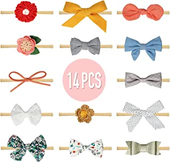 14 Pcs Baby Girl Headbands and Bows, Newborn Infant Toddler Hair Accessories by KECUCO