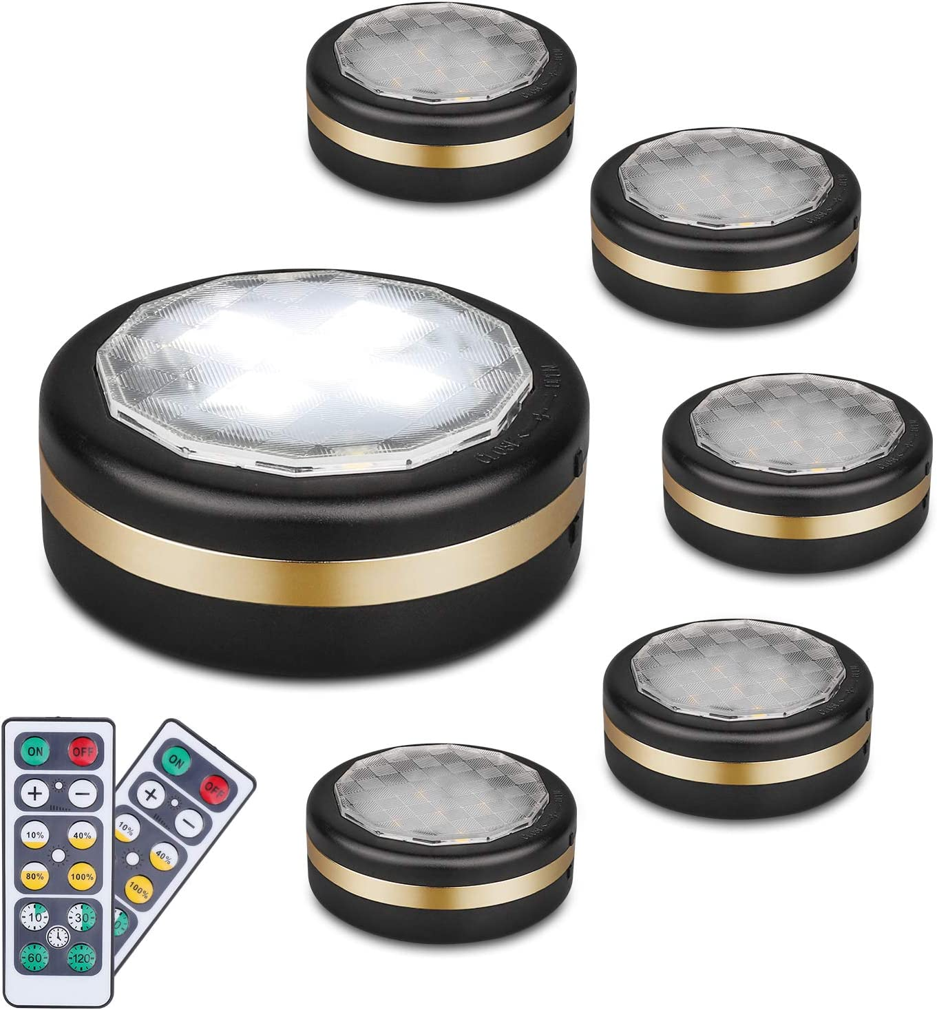 LEASTYLE Under Counter Lights for Kitchen,Wireless LED Puck Lights with Remote Control 6 Pack, Under Cabinet Lighting Battery Operated,Steps Lights Indoor, Stick-up Lights Wireless