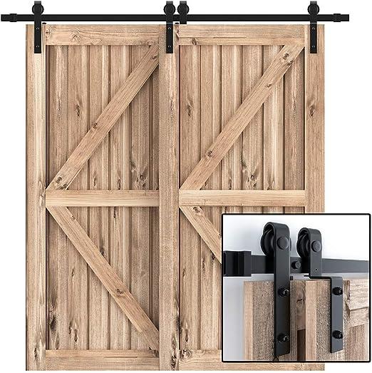 Single//Double//Bypass 6-16FT Antique Sliding Barn Door Hardware Closet Track Kit