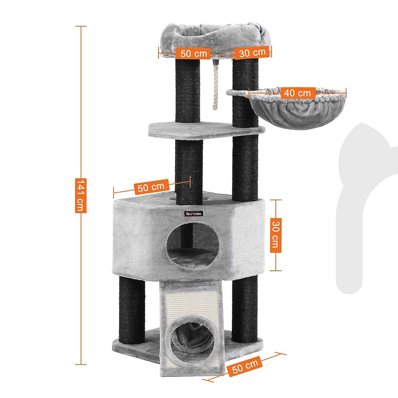 Estable con Plataforma de Observaci/ón XXL Postes Gruesos Envueltos en Sisal Gris Claro PCT02W Tumbona de la Cesta y Cueva Grande FEANDREA /Árbol para Gatos