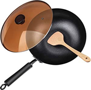 "Carbon Steel Wok, 12.5"" Nonstick Fry Wok Cooking Wok Pan Chinese Iron Pot for Electric, Induction and Gas Stoves Cooking"