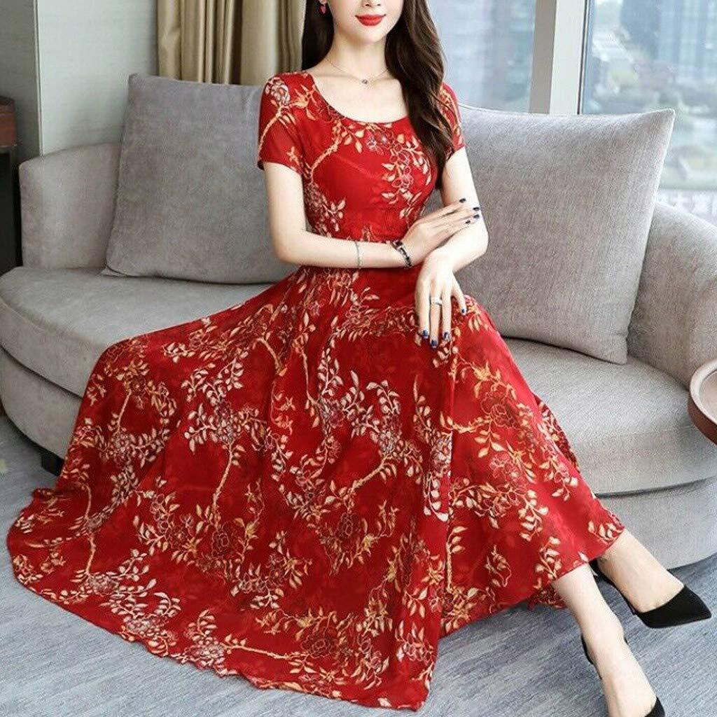 WENOVL Maxi Dresses for Women,Women Fashion Summer O-Neck Ankle-Length Short Sleeve Printing Long Dress