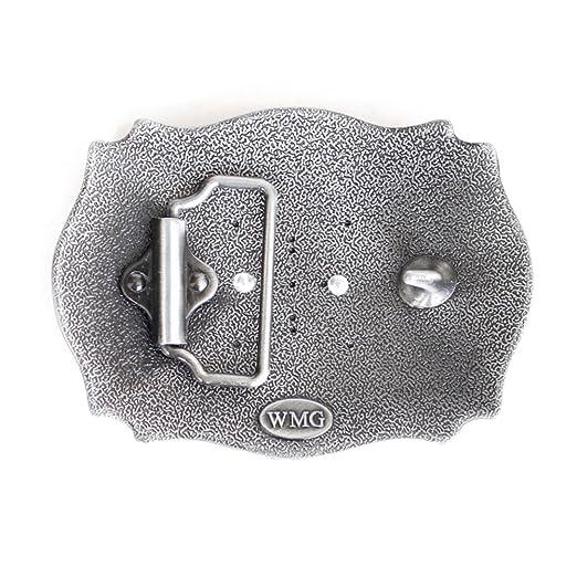 FYX Hebilla de Cinturón Plateado para Hombre con Letra P 4zlAlG6