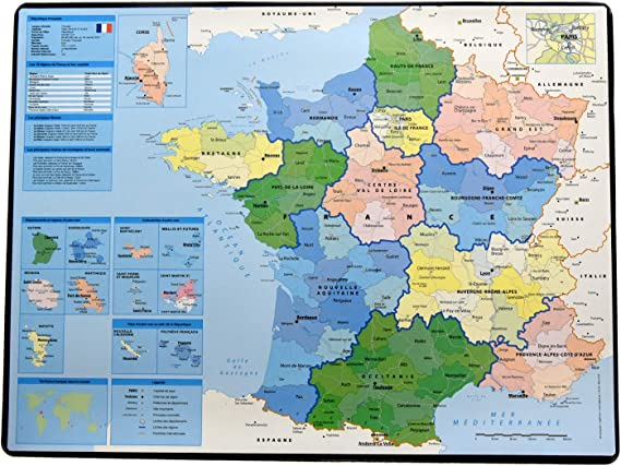 Esselte - Alfombrilla de escritorio (40 x 53 cm, en francés), diseño de mapa de Francia: Amazon.es: Oficina y papelería