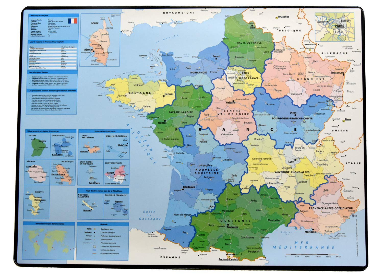 Map Of France 1500.Esselte Desk Pad With Map Of France 40 X 63 5 Cm French Language