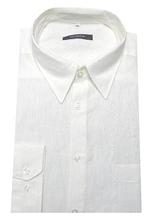 HUBER Leinen Hemd weiß 100% Leinen Kentkragen HU-0053 bequeme ... 89088466e4