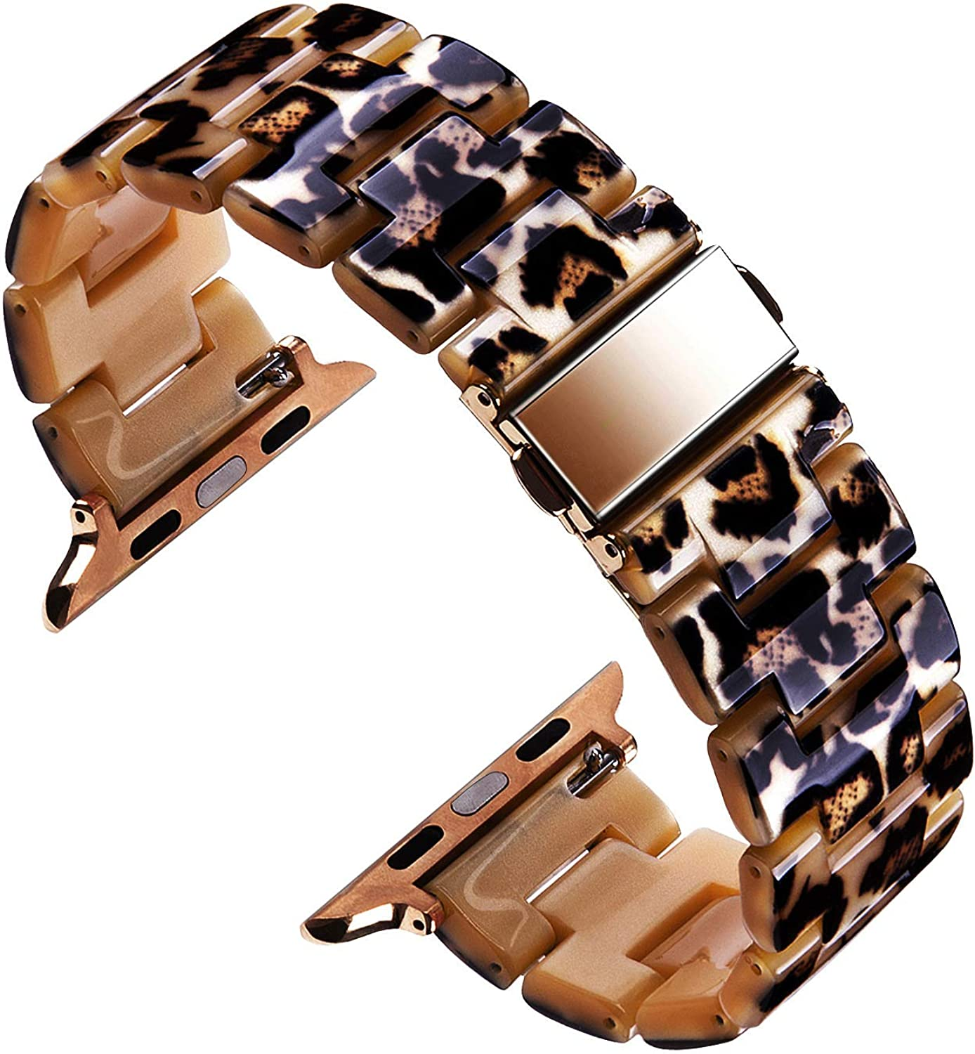 VIQIV Resin Bracelet Compatible with Apple Watch Band 38mm 40mm 42mm 44mm Iwatch Series 5/4/3/2/1, Tortoiseshell Dressy Bangle Jewelry Wristband Strap for Women Stainless Steel Adjustable