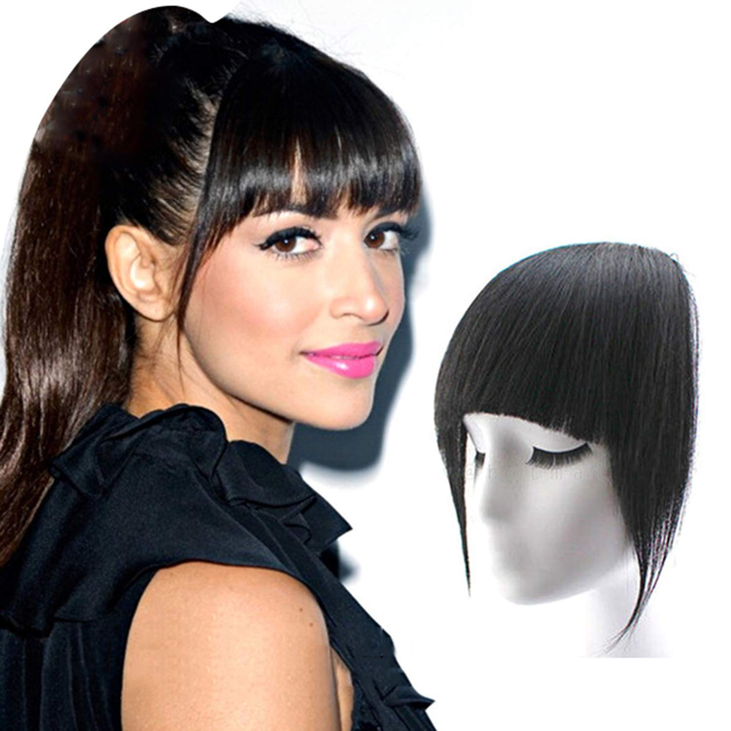 Fully 100% Natural Look Human Hair Bangs/Fringes Extension For Women And  Girls Hair Front Hair Flicks (Center Cut Black) Pack Of 10