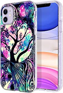 Lamcase for iPhone 11 Case, Crystal Clear Bling Sparkly Glitter Shiny Soft Flexible TPU Slim Fit Drop Protection Rugged Shockproof Case Cover for Apple iPhone 11 6.1 inch 2019, Life Tree