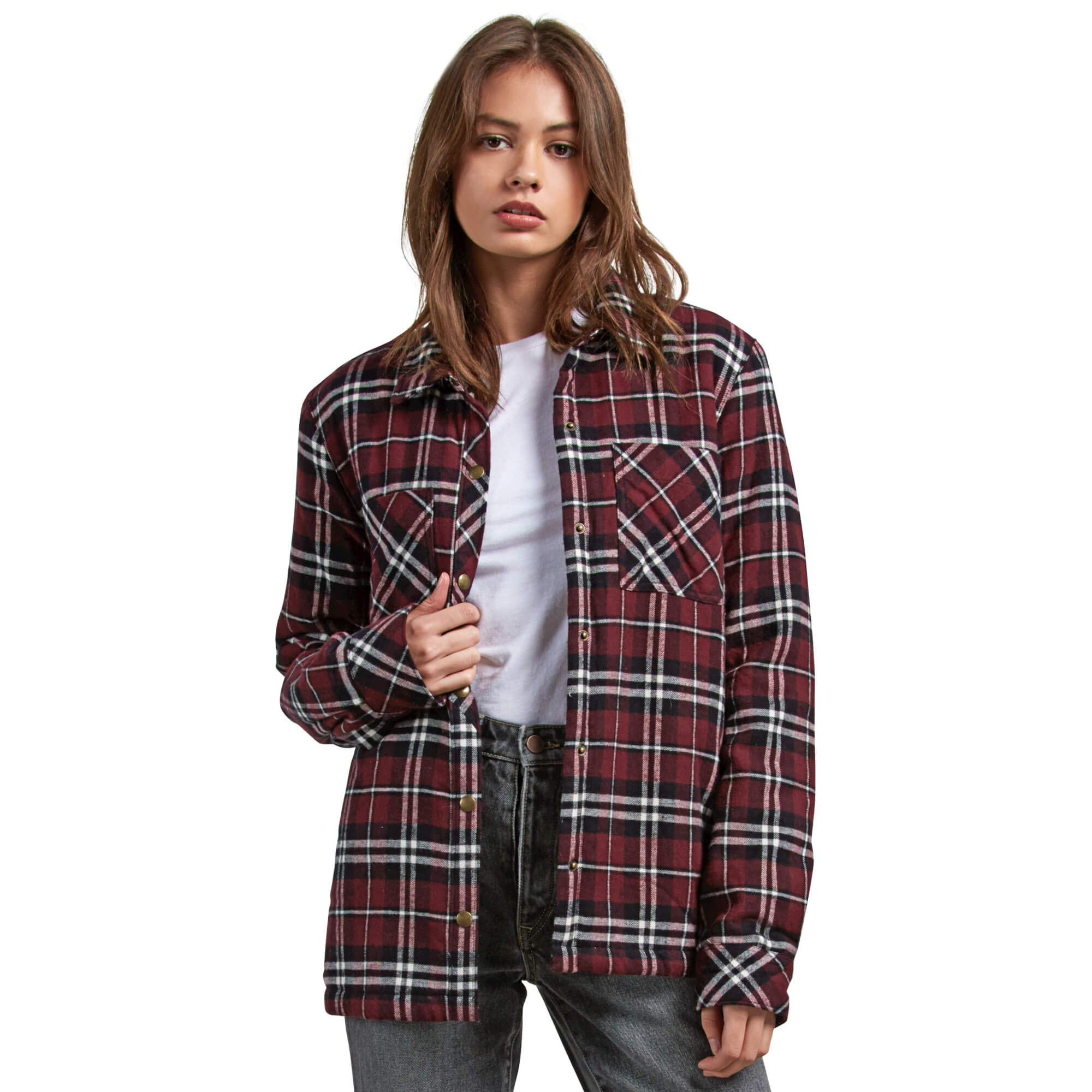 Volcom Junior's Plaid About You Relaxed Fit Long Sleeve Sherpa Lined Flannel, Burgundy, Extra Small by Volcom