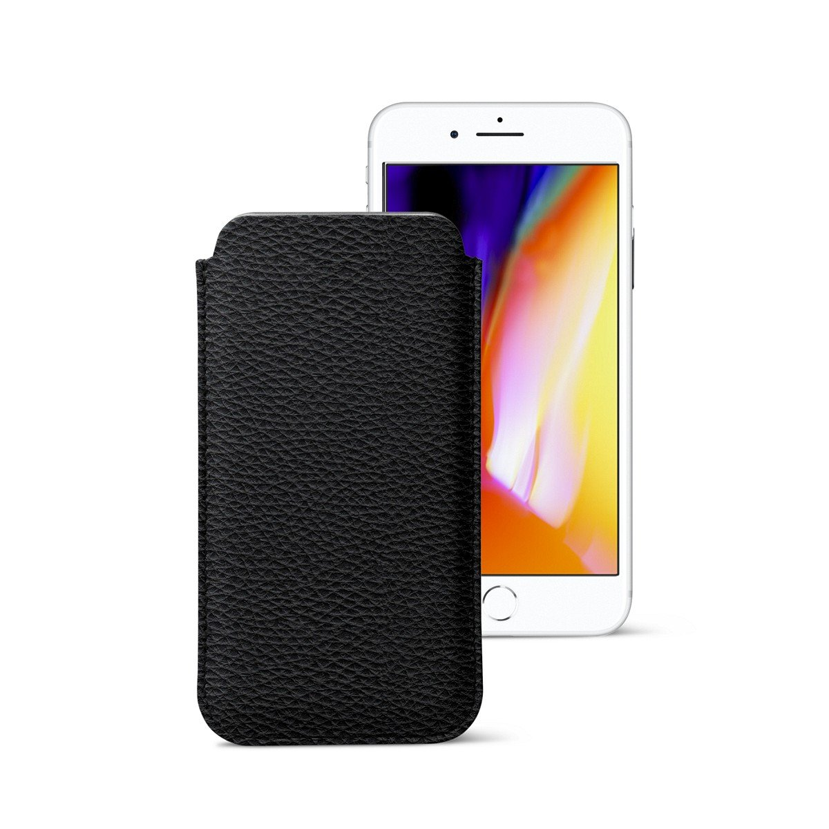 Lucrin - Classic Ultra Thin Sleeve, Protective Soft Case Cover for iPhone 8/7/ 6 - Black - Granulated Leather