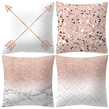 Miraculous Set Of 4 Rose Gold Pillow Case Covers Arrow Marble Pattern Caraccident5 Cool Chair Designs And Ideas Caraccident5Info