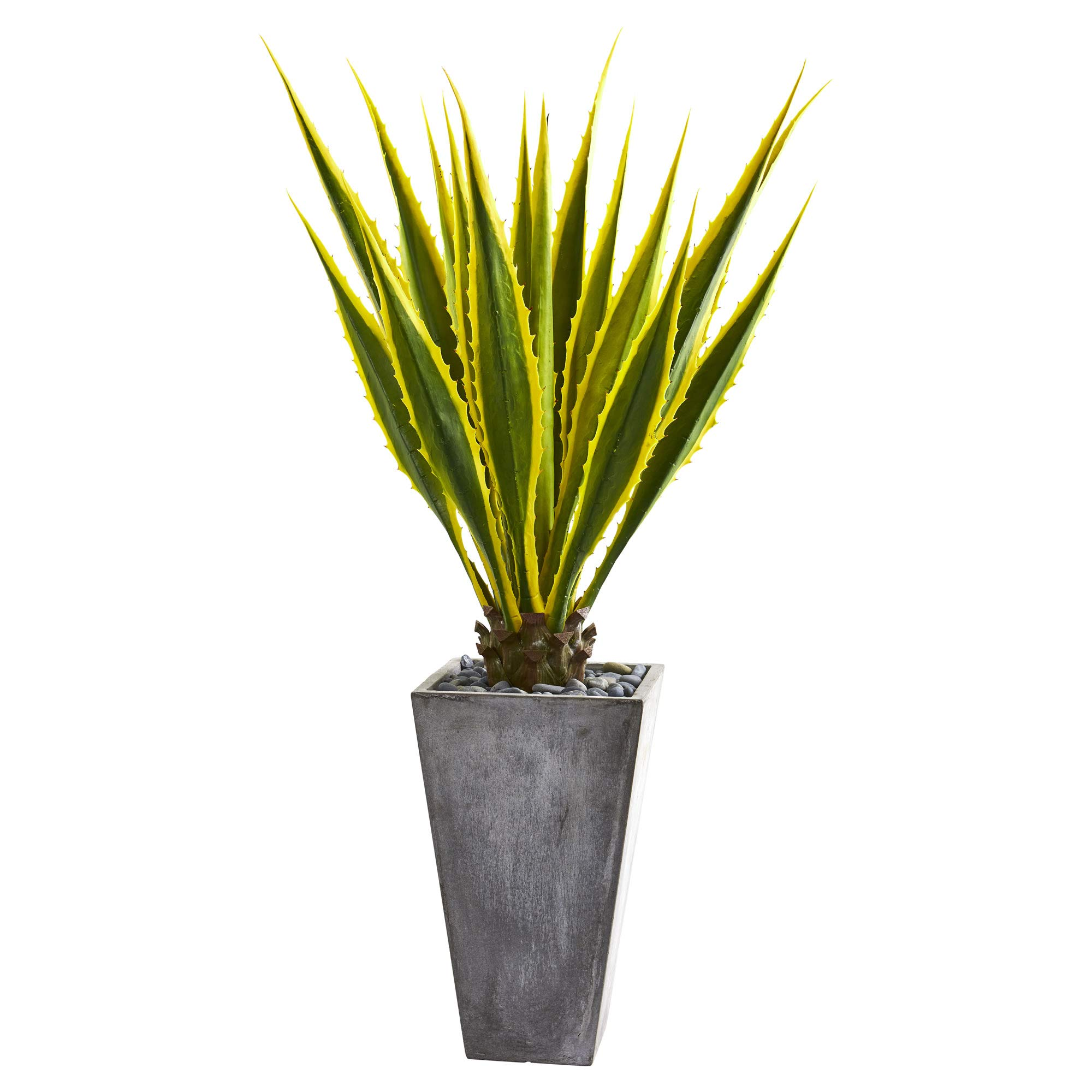 Nearly Natural 9069 5-Ft. Agave Artificial Gray Planter Silk Plants, Green