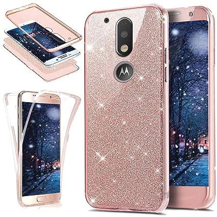 Carcasa Ikasus® de silicona de TPU para móvil Motorola Moto G4 Plus (Full-Body 360 Coverage Protective), carcasa transparente de pedrería de estética ...