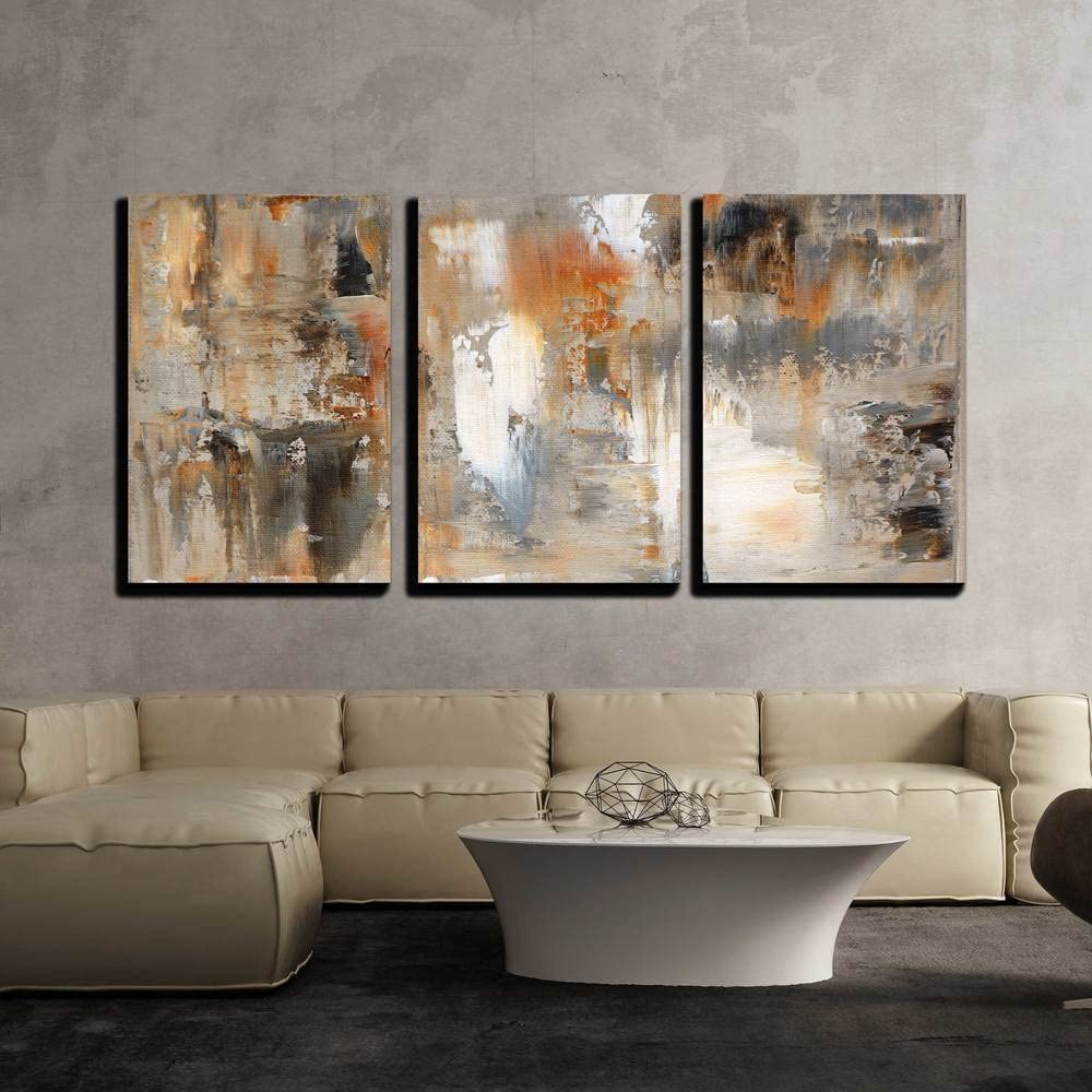 """wall26 - Brown and Beige Painting - Canvas Art Wall Decor - 16""""x24""""x3 Panels"""