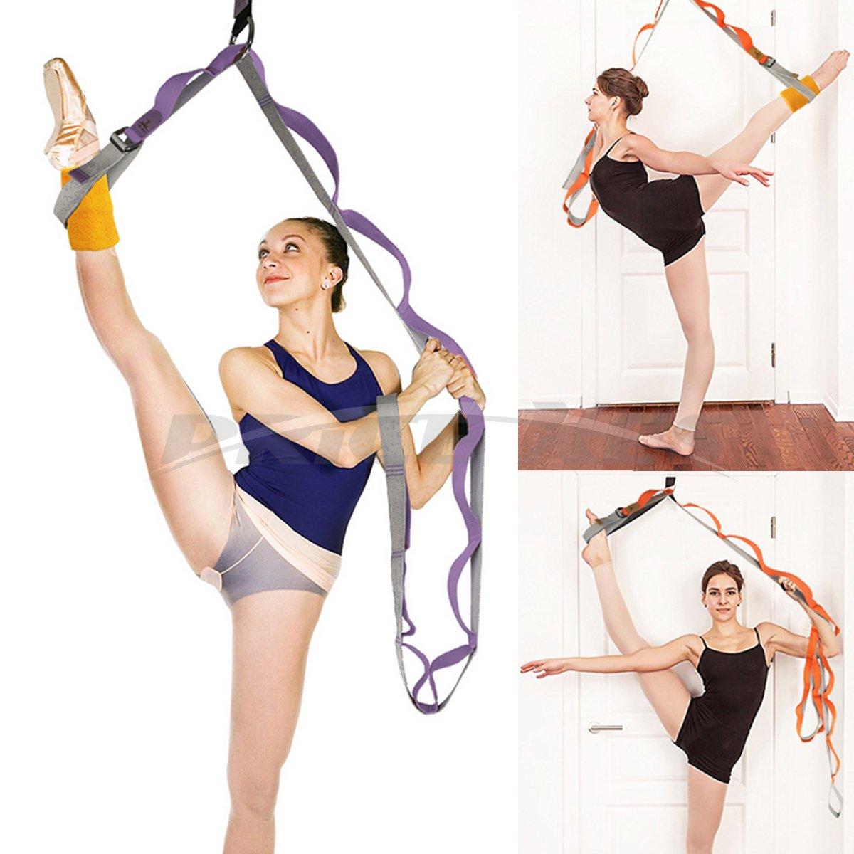 Pierna Camilla con trabillas, flexibilidad de puerta y estiramiento pierna correa–gran alegría Danza de ballet para gimnasia o cualquier deporte pierna Camilla puerta flexibilidad Trainer Premium estiramientos equipo, morado Price Xes