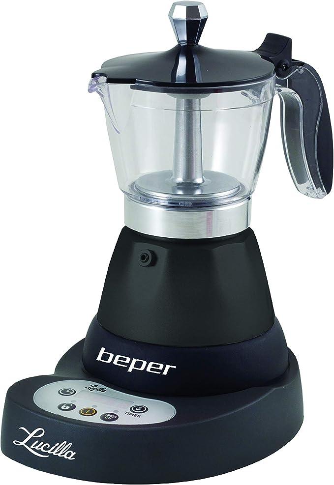 Beper - Lucilla Cafetera Eléctrica de Aluminio Programable de 3 Tazas, Temporizador, Café Caliente durante 30 ...