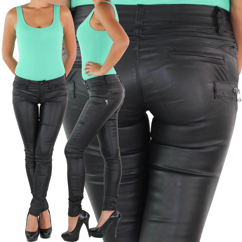 Damen Kunstlederhose Röhrenhose Bikerhose Skinny Slim Fit Leder Look Hose Schwar