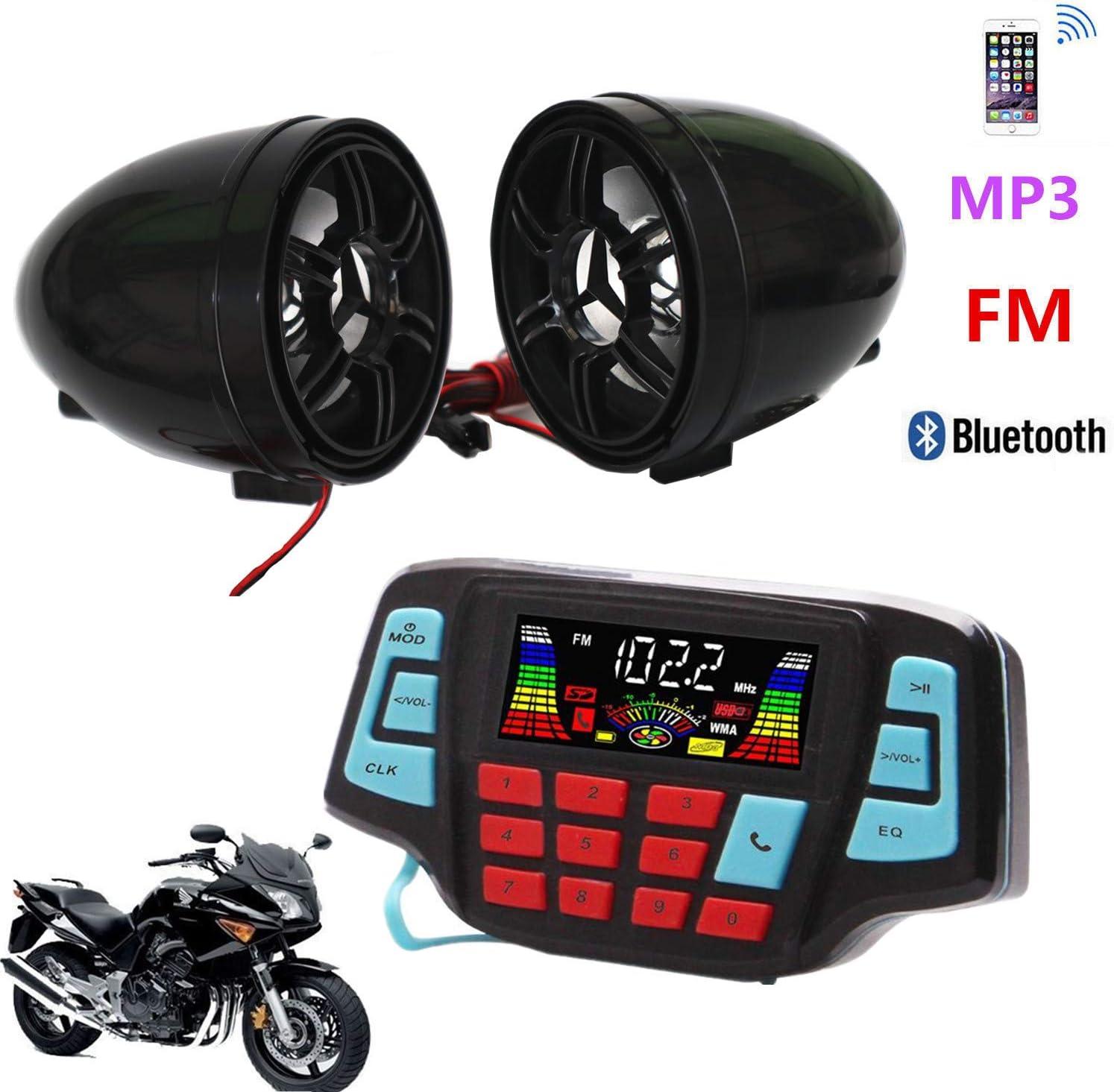 Bluetooth Motorcycle Audio Stereo Speaker System LED MP3 FM Radio USB AUX Harley