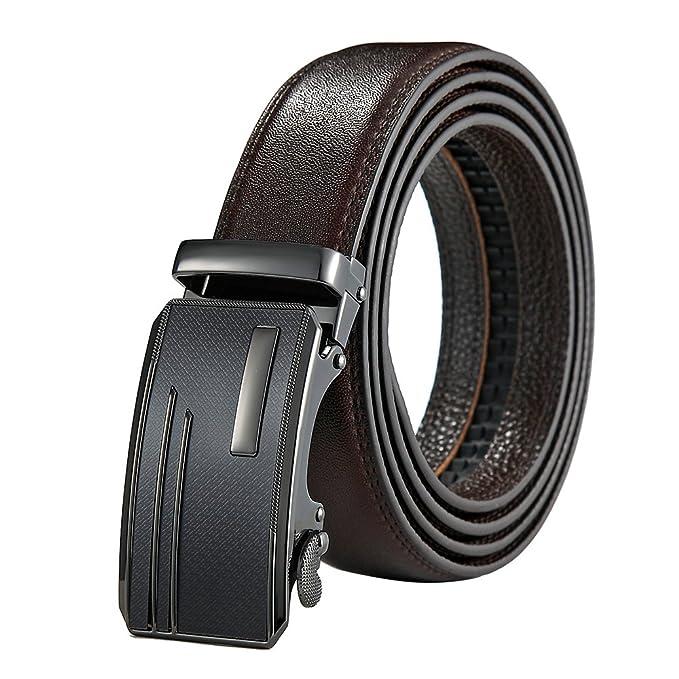 KQueenStar Cinturones para hombre Cinturón de hombre con hebilla automática  En marrón  Amazon.es  Ropa y accesorios 9bf6dbca1bbd