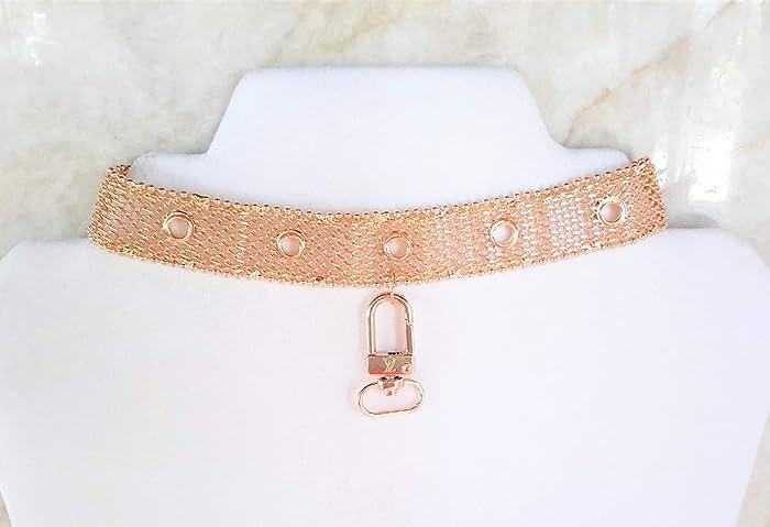 fc1ebe9c92033 Amazon.com: Gold Metal Mesh Choker Necklace w Louis Vuitton Charm ...