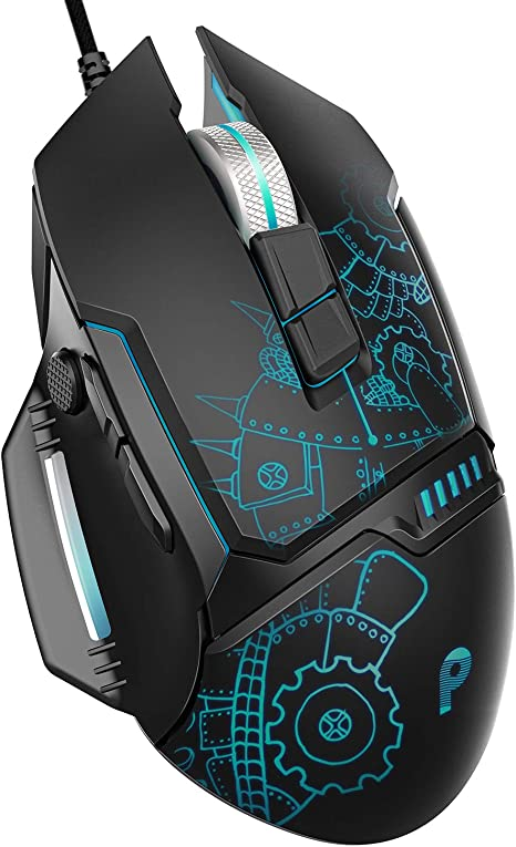 6 Buttons Design 4 Changeable Breathing Light Compatible with Windows7//8//10//XP VicTsing Backlit Gaming Wired Mouse 4 Adjustable DPI Levels Ergonomic Grips High Up to 3200 DPI Linux-Black