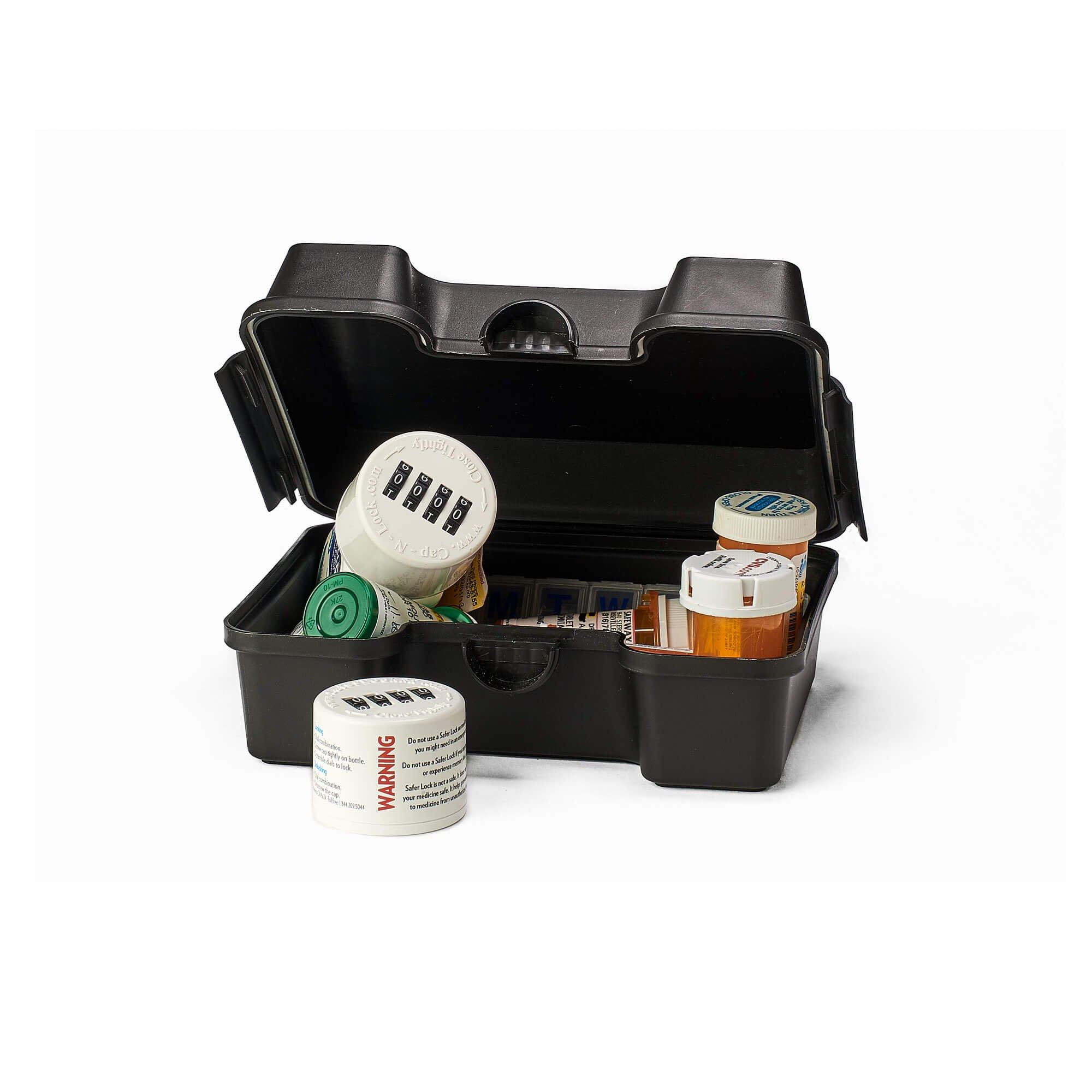 SaferLock Medication and Prescription Pill Lock Storage Box with Combination Lock, Black