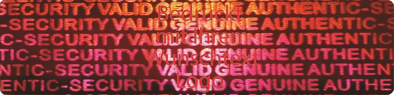 EtikettenWorld BV, EW-H-2400-14-tr-700, 700 Stück Hologrammaufkleber, 2D, 10x40mm rotfarbige Metallfolie, bedruckt in rot mit Ihrem Wunschtext Logo, Hologramm Etiketten, selbstklebend, Hologramm Aufkleber, Sicherheitssiegel, Garantiesiegel, Garantiea