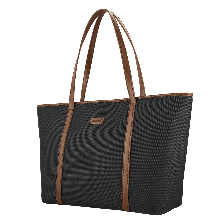 3891ca86cb5f5 CHICECO Nylon Arbeit Shopper Tasche Handtasche Damen - Schwarz (Schwarz+braun