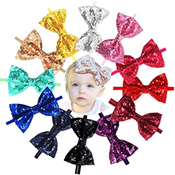 12Pcs Baby Girls Headbands 5 Inch Big Bling Sparkly Glitter Sequin Hair  Bows Headband Soft Nylon 66cbbb5ec79a