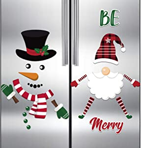 Frienda 11 Pieces Christmas Gnomes Magnets and 16 Pieces Snowman Refrigerator Magnets, Christmas Gnome Holiday Scandinavian Magnets Stickers for Christmas New Year, Metal Door, Cabinets Home Decor