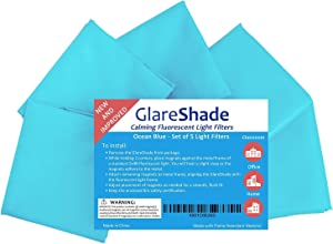 GlareShade Fluorescent Light Filter Diffuser Covers. 10 Pack. Blue Color. Eliminate Harsh Glare that Causes Eyestrain and Headaches at Work and School While Improving Focus and Classroom Management.