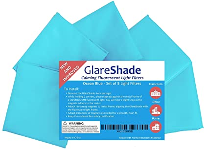 7f6dbe97f9e GlareShade Fluorescent Light Filter Diffuser Covers (10 Pack  Blue Color).  Eliminate Harsh