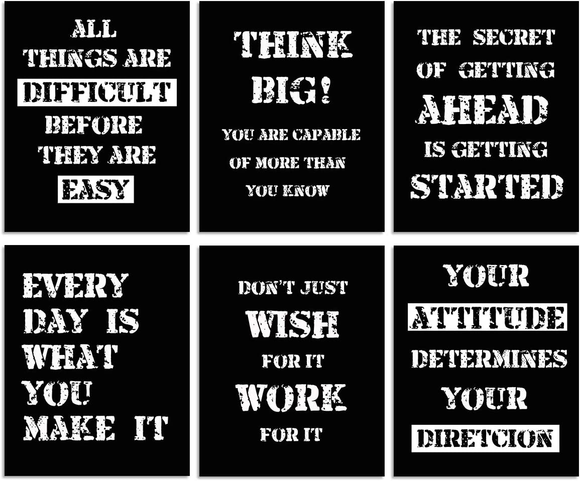 Inspirational Poster Motivational Quotes Print - Unframed Inspire Black White Positive Quotes and Sayings Inspiration Pharses 6 Piece 8x10inch Canvas Painting Modern Wall Art Home Office Room Decor