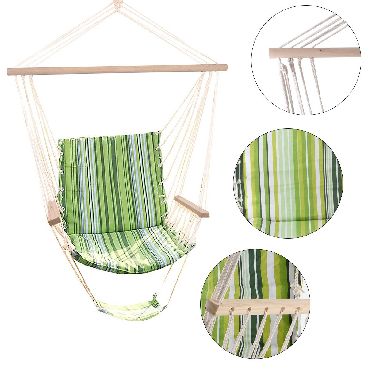 Costway Hammock Chair - Green Garden Hanging Swing Seat Padded Cushion Striped Cotton Indoor/Outdoor