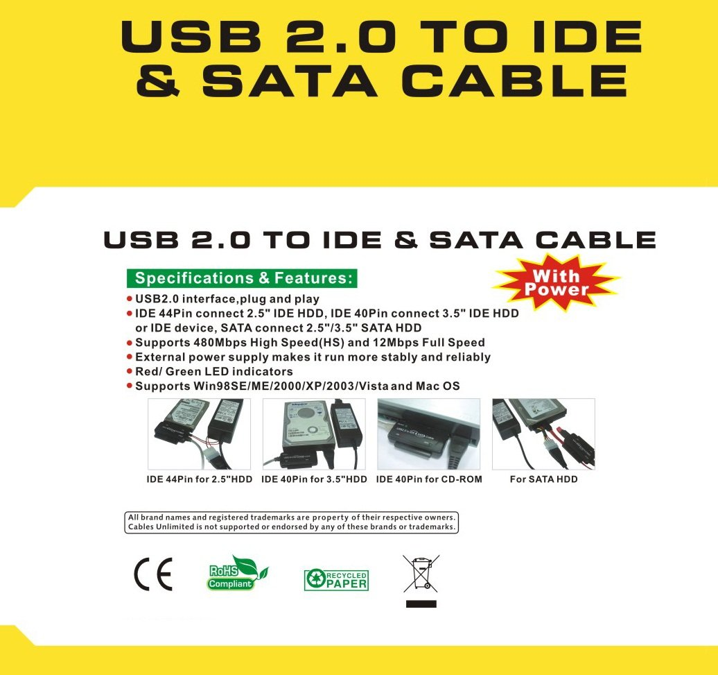 Cables Unlimited USB-2110 USB 2.0 to IDE and SATA Adapter Cable with Power by Cables Unlimied