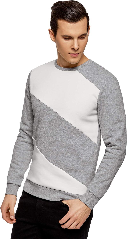 oodji Ultra Hombre Suéter con Cuello Redondo e Inserciones en Contraste
