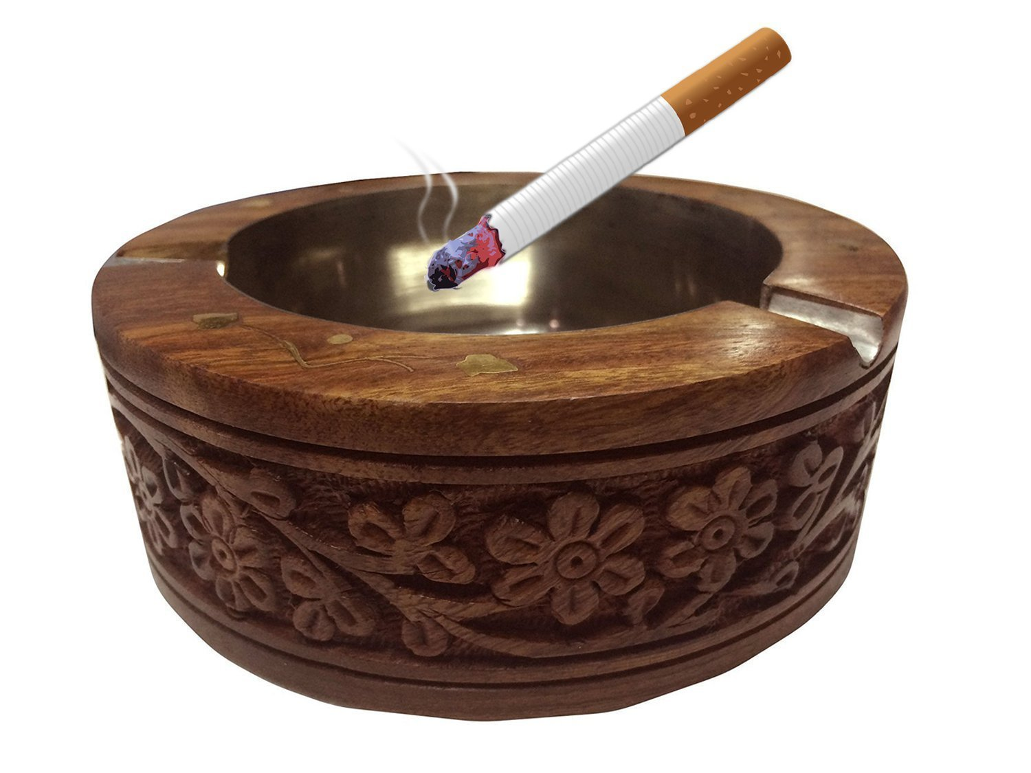 Wooden Round Carving Design Ashtray, Table Ashtray, Cigarette Ashtray, Cigarette Holder, Ashtray For Cigarette, Outdoor Ashtray - 4 X 1.5 Inch