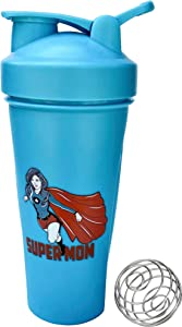 Supermom Shaker Bottle ∎ 24 oz Sport Mixer ∎ Fitness Protein Shaker ∎ Gym Bottle Blender ∎ Classic Loop Top Shaker ∎ Water Bottle ∎ Includes Steel Whisk Ball (Aqua Blue)
