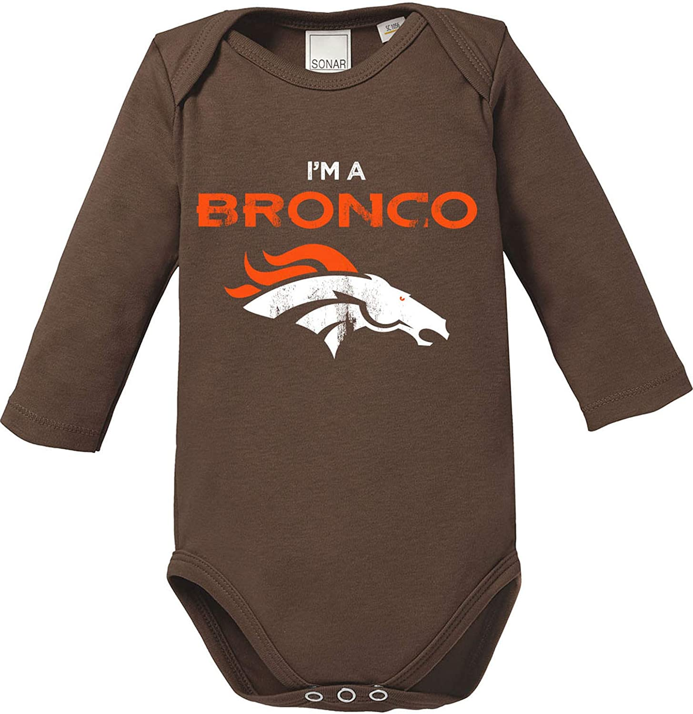 EZYshirt/® I`m a Bronco American Football Body Baby Langarm Bio Baumwolle